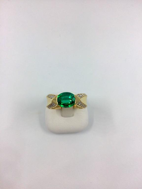 Emerald Diamond Gold Ring For Sale 2