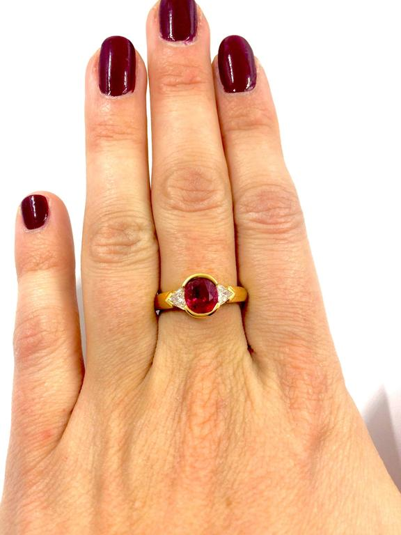 Trillion Cut Burma Ruby Diamond Gold Ring For Sale