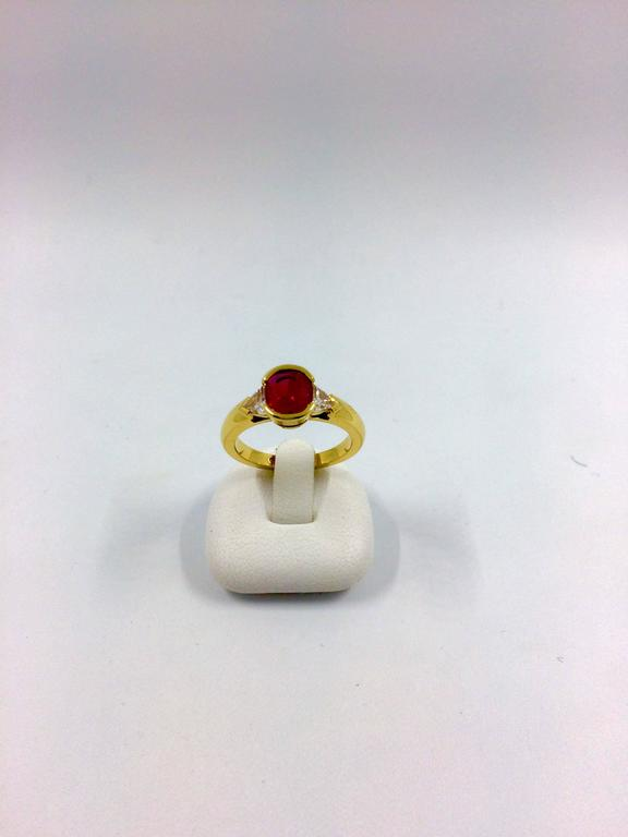 Women's Burma Ruby Diamond Gold Ring For Sale