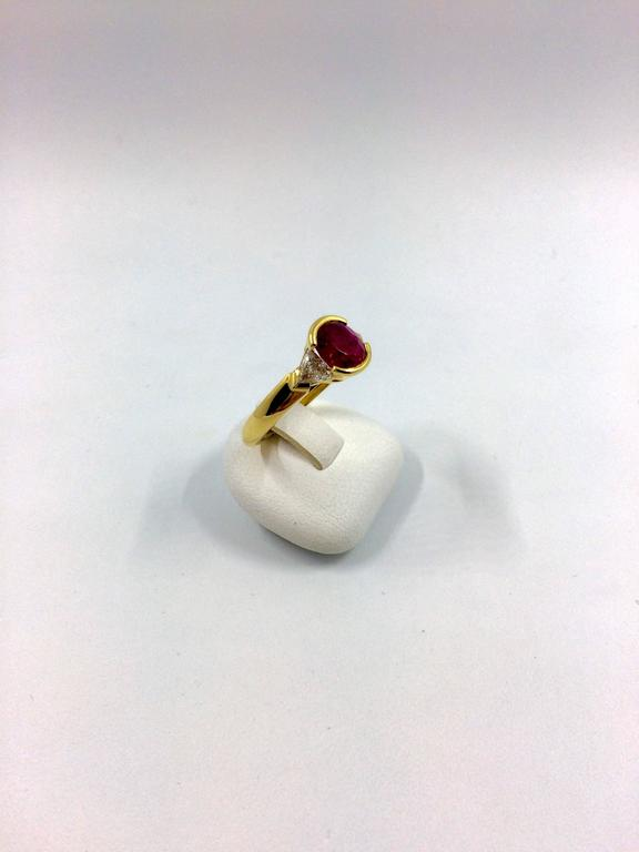 Burma Ruby Diamond Gold Ring For Sale 3