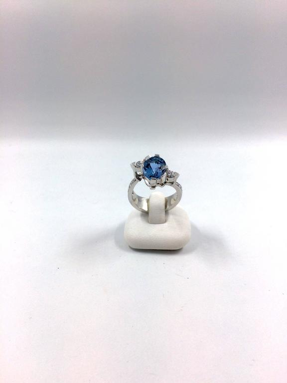 G.Minner Aquamarine Diamonds Gold Ring In New Condition For Sale In Colmar, FR