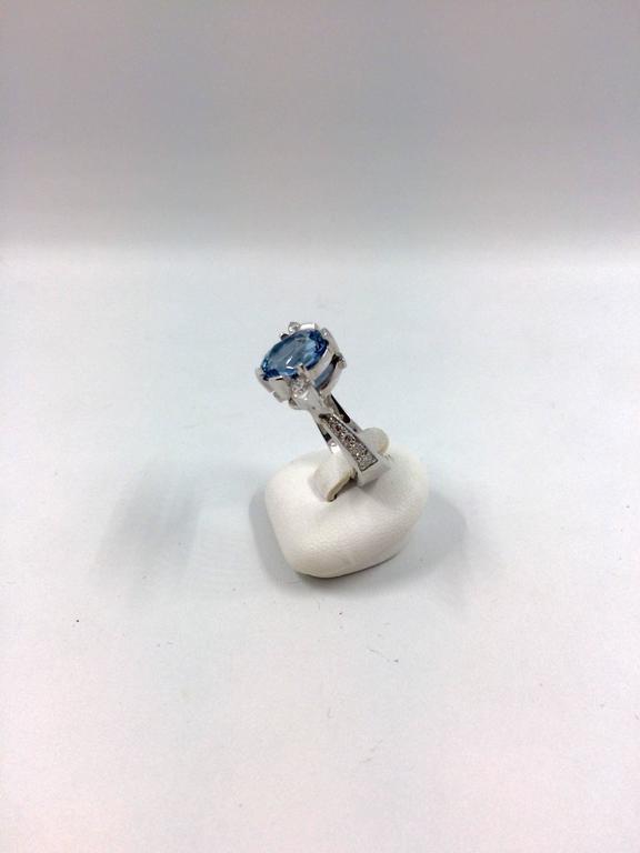 Women's G.Minner Aquamarine Diamonds Gold Ring For Sale