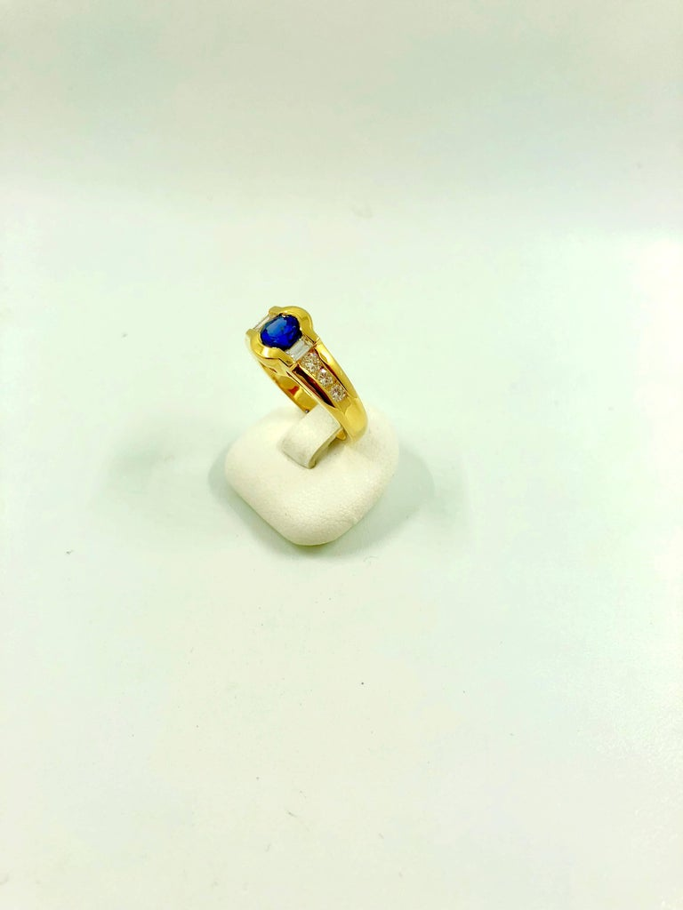 G.Minner Sapphire Diamond Gold Ring In New Condition For Sale In Colmar, FR