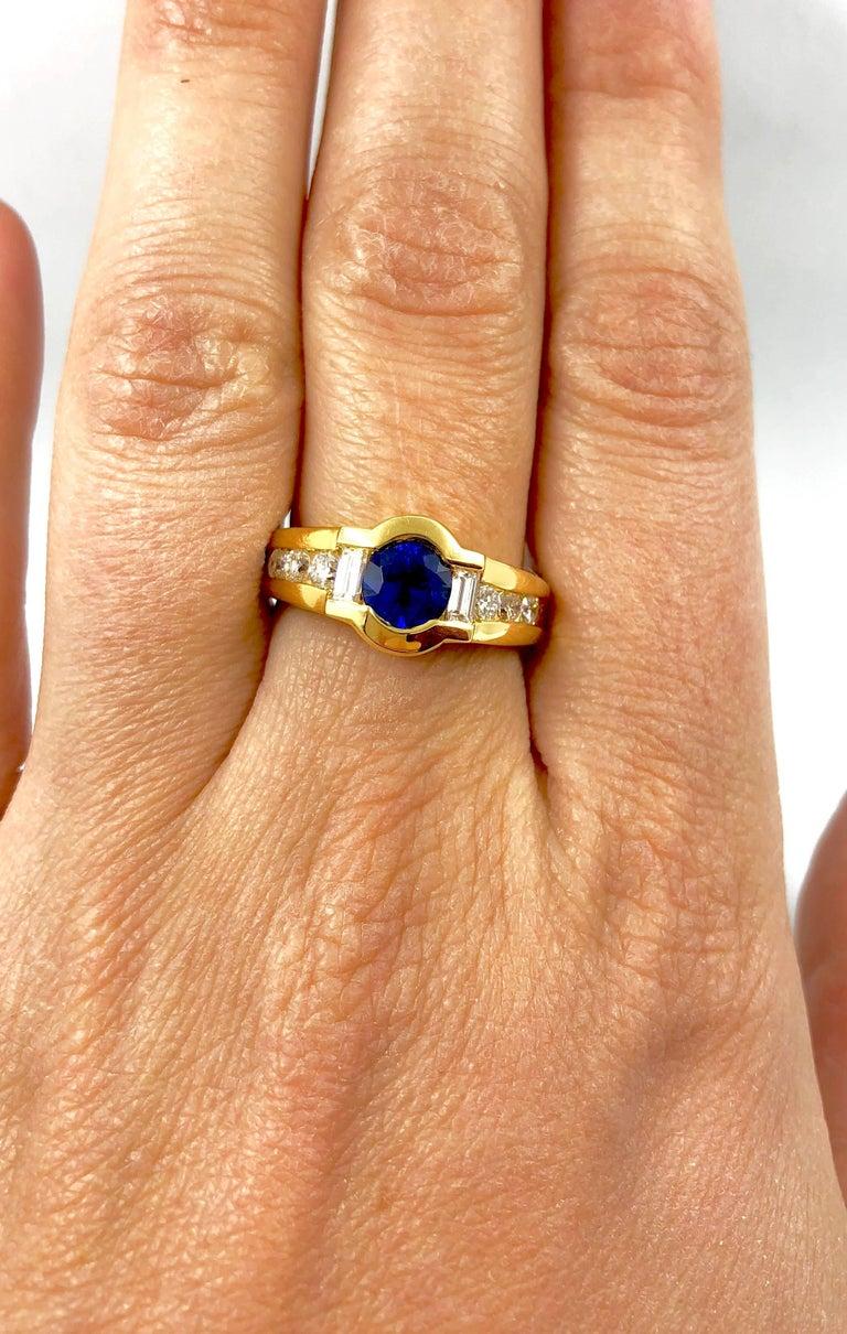 Women's G.Minner Sapphire Diamond Gold Ring For Sale