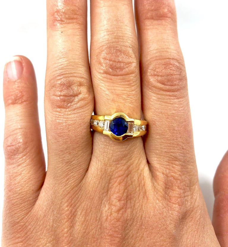 G.Minner Sapphire Diamond Gold Ring For Sale 1