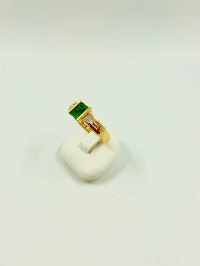 Modern G.Minner Emerald Diamond Gold Ring For Sale