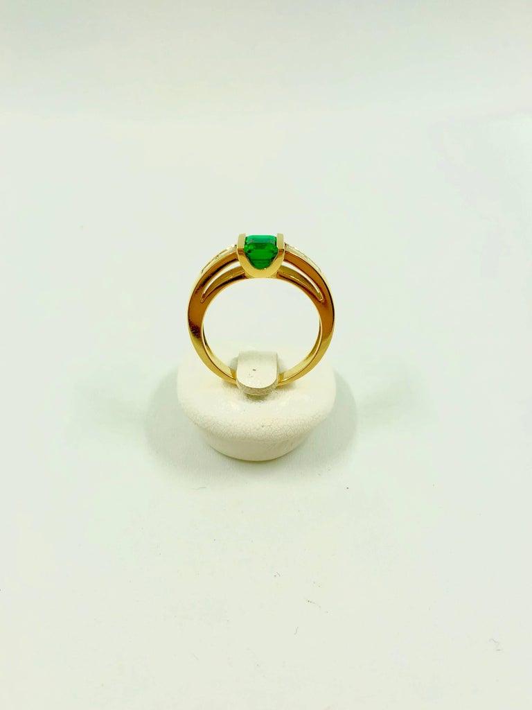 Emerald Cut G.Minner Emerald Diamond Gold Ring For Sale
