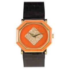 Piaget Lady's Yellow Gold Diamond Octagonal Coral Wristwatch