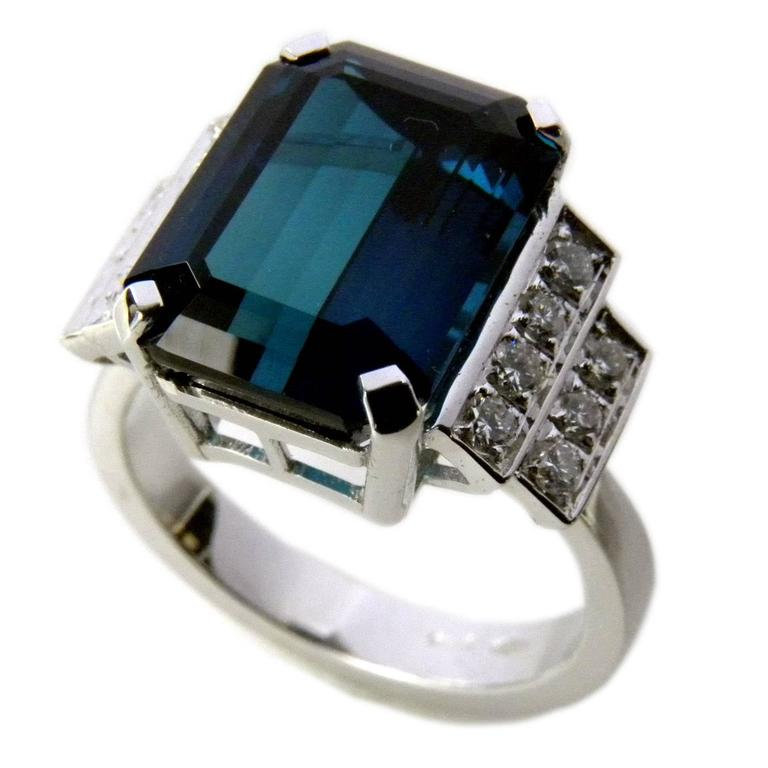 unique 6 58 carat emerald cut blue tourmaline