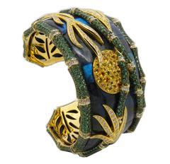Amazing Lapis Labradorite Yellow Sapphire Emerald White Diamond Bamboo Bracelet