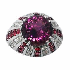 Original 1960s 5.77 Carat Natural Pink Tourmaline Diamond Ruby Cocktail Ring