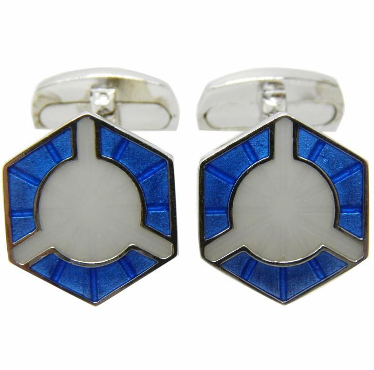 Smart Light Blue White Champlevé Hand Enameled Sterling Silver Cufflinks For Sale