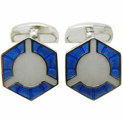 Smart Light Blue White Champlevé Hand Enameled Sterling Silver Cufflinks