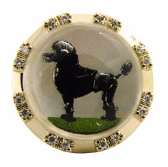 Original Poodle Motif Essex Glasses Diamond Yellow Gold One-of-a-Kind 1950s Ring