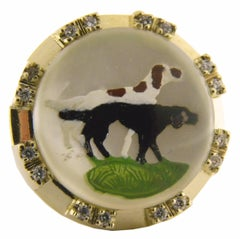 Original Hounds Motif Essex Glasses Diamond Yellow Gold One-of-a-Kind 1950s Ring