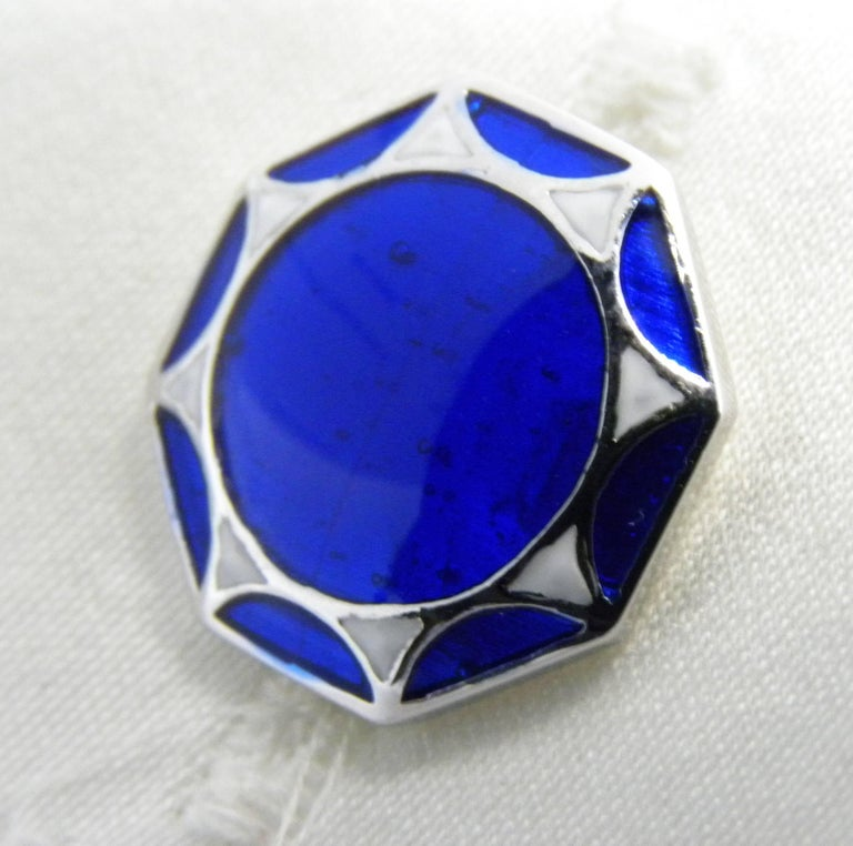 Smart Hand Enameled Blue White Octagonal Sterling Silver Cufflinks T-Bar Back In New Condition For Sale In Valenza, IT