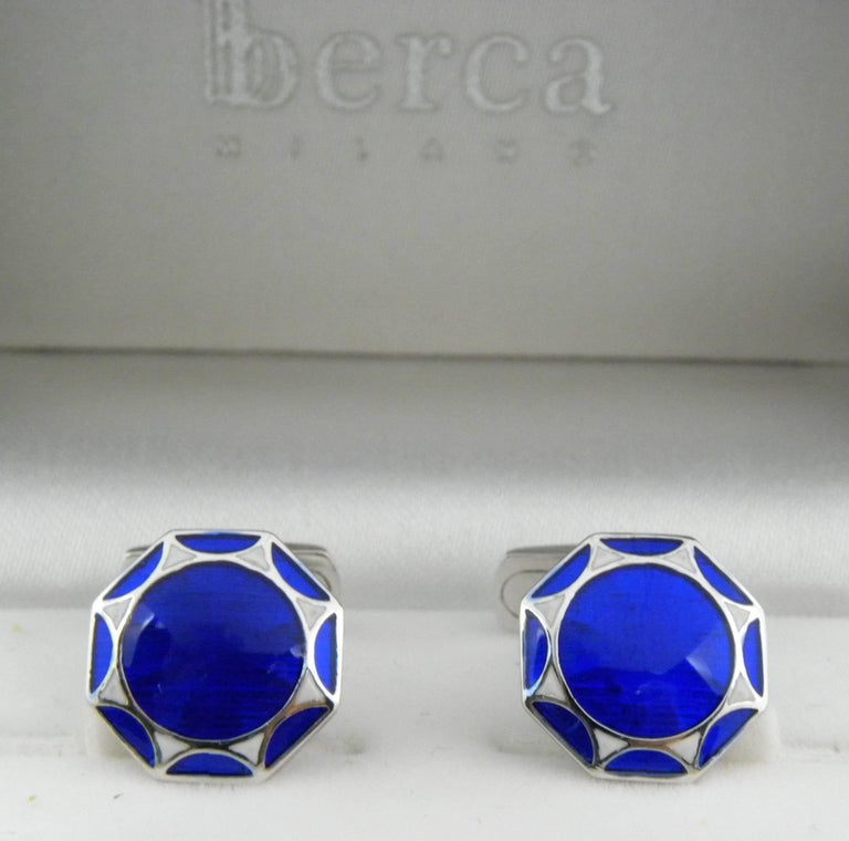 Men's Smart Hand Enameled Blue White Octagonal Sterling Silver Cufflinks T-Bar Back For Sale