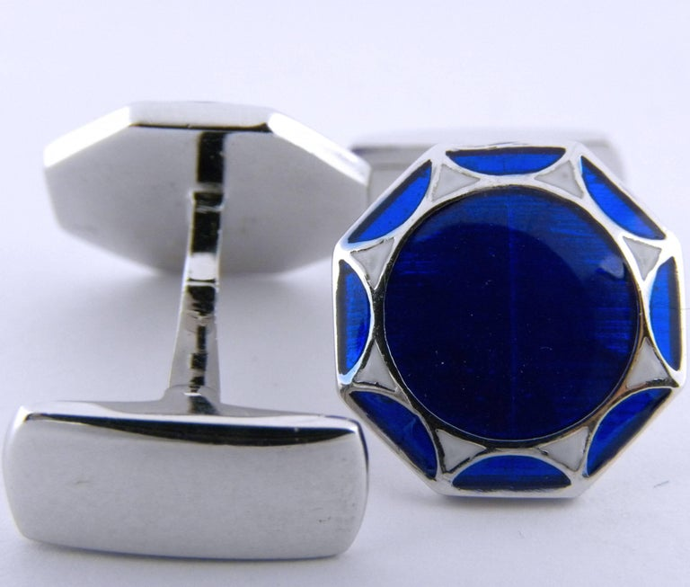 Smart, simple, but very chic blue and white sterling silver cufflinks, t-bar back