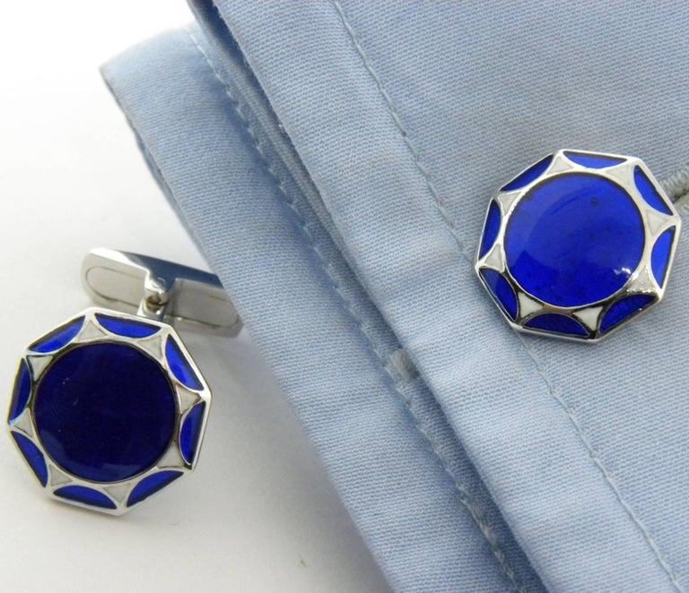 Smart Hand Enameled Blue White Octagonal Sterling Silver Cufflinks T-Bar Back For Sale 1