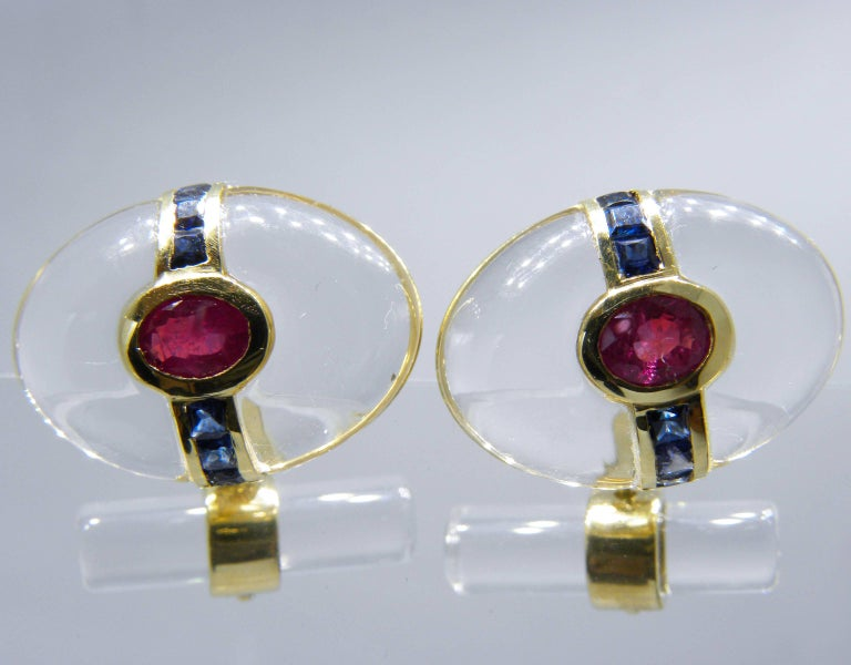 Hand Inlaid Rock Crystal Square Cut Sapphire Oval Ruby 18 Karat Gold Cufflinks For Sale 2