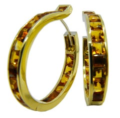 Berca Unique Oval Square Cut Natural Citrine 18 Carat Yellow Gold Hoop Earrings