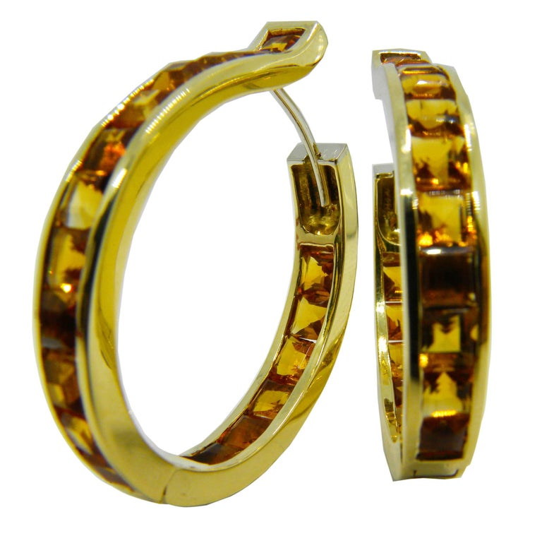 Unique Oval Square Cut Natural Citrine 18 Carat Yellow Gold Hoop Earrings For