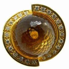 25.70 Carat Citrine Quartz Ball White Diamond 18 Carat Yellow Gold Helix Ring