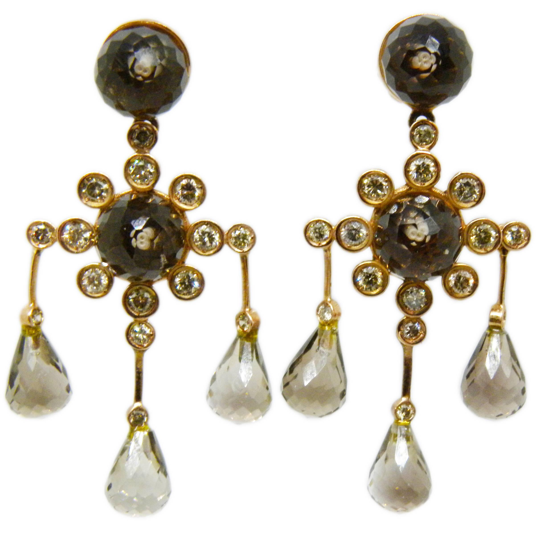 Berca 1Kt Champagne Diamond Smoky Quartz Rose Gold Setting Chandelier Earrings