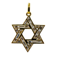 Original 1970s 2.97 Carat White Diamond Baguette Cut Star of David Pendant