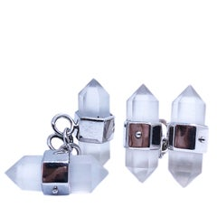 Berca Hand Inlaid Rock Crystal Pencil Shaped 18 Karat White Gold Cufflinks