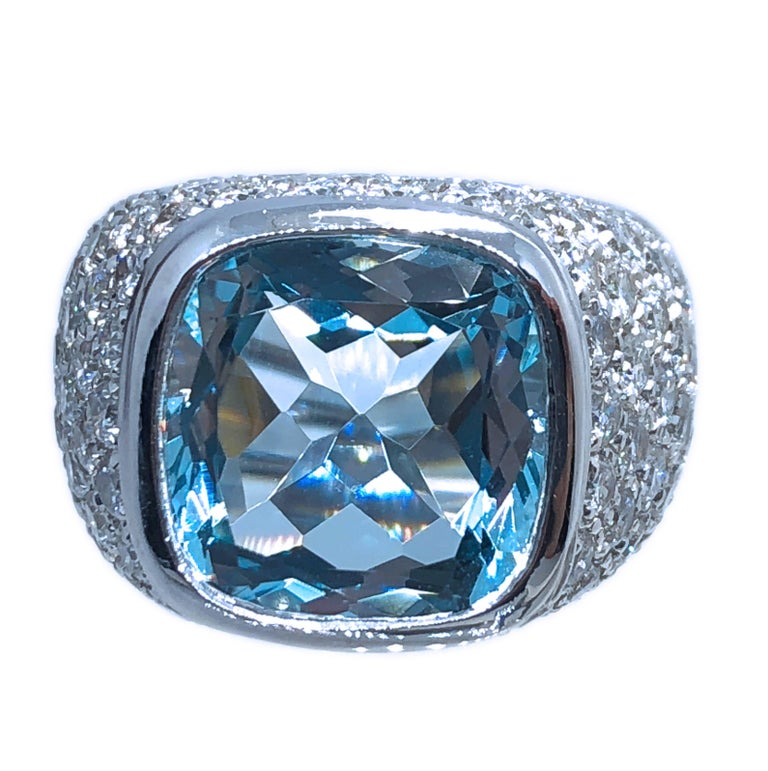 10.43 Carat Natural Antik Cut Brazilian Aquamarine 3.74 Carat Diamond Ring