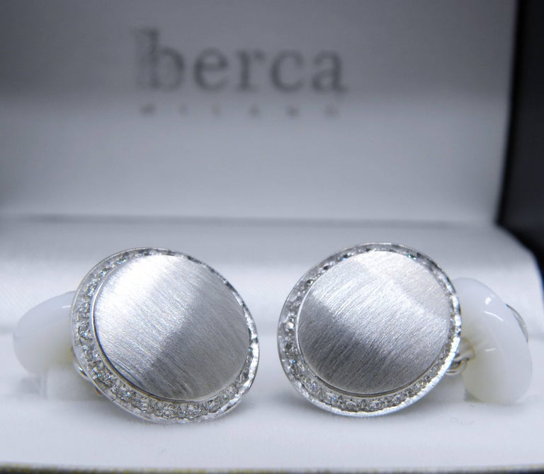 Berca White Diamond 18k Oval Hand Brushed White Gold White Agate Back Cufflinks For Sale 7