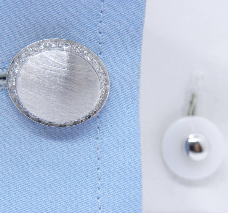 Berca White Diamond 18k Oval Hand Brushed White Gold White Agate Back Cufflinks For Sale 5