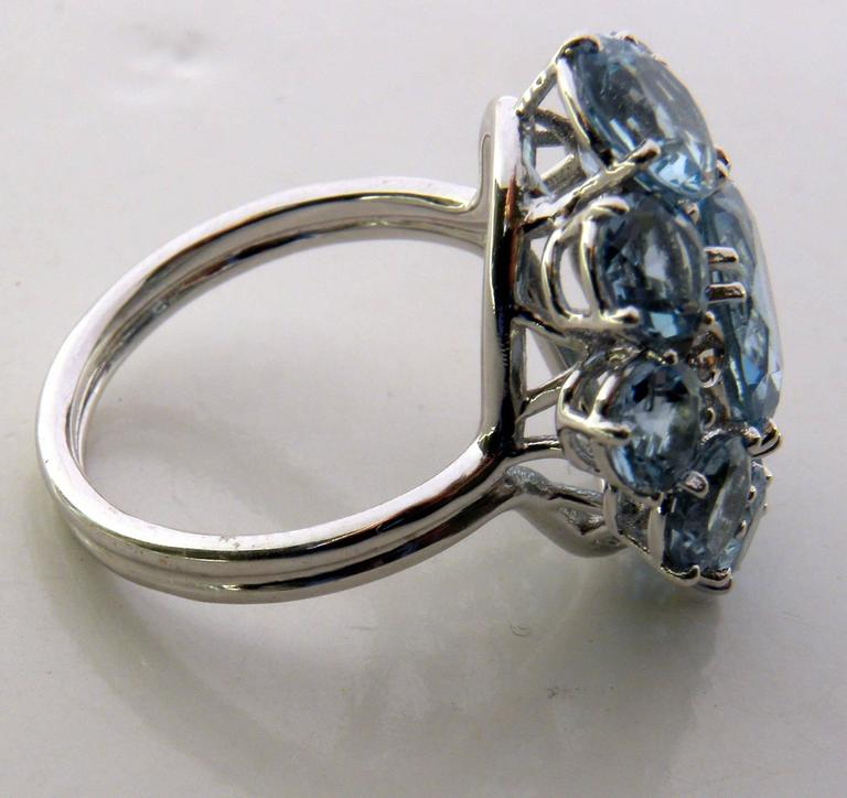 7.92 Carat Natural Brazilian Aquamarine Diamond Gold Ring In New Condition For Sale In Valenza, IT
