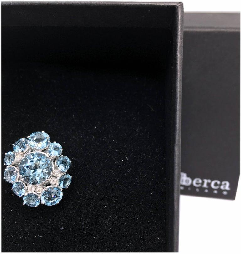 7.92 Carat Natural Brazilian Aquamarine Diamond Gold Ring For Sale 3