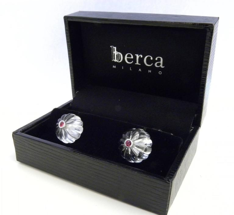Hand Inlaid Natural Rock Crystal Cabochon Natural Ruby Gold Cufflinks In As New Condition For Sale In Valenza, IT