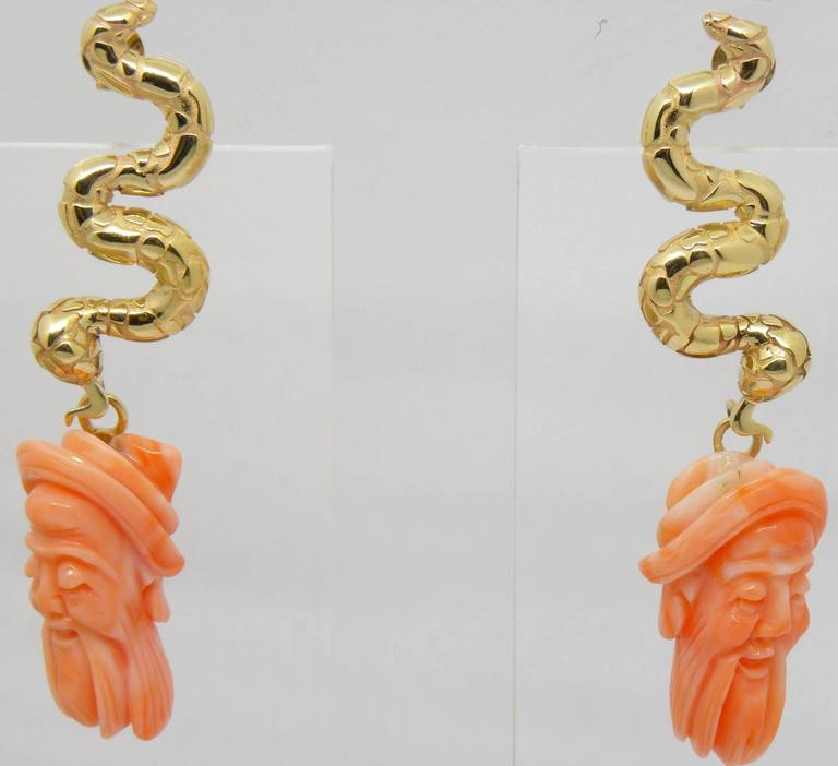 Antique Mediterranean Coral Gold Hand-Carved Lao-Tze Head Snake Earrings 2