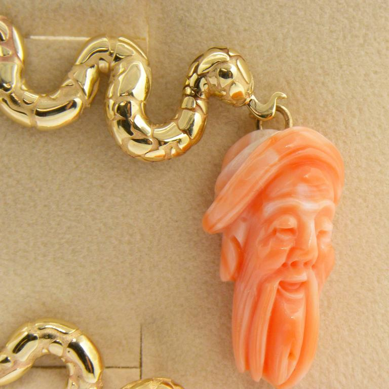 Antique Mediterranean Coral Gold Hand-Carved Lao-Tze Head Snake Earrings 3