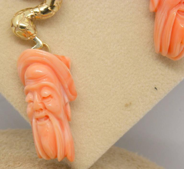 Antique Mediterranean Coral Gold Hand-Carved Lao-Tze Head Snake Earrings 4