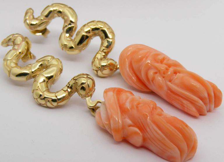 Antique Mediterranean Coral Gold Hand-Carved Lao-Tze Head Snake Earrings 5