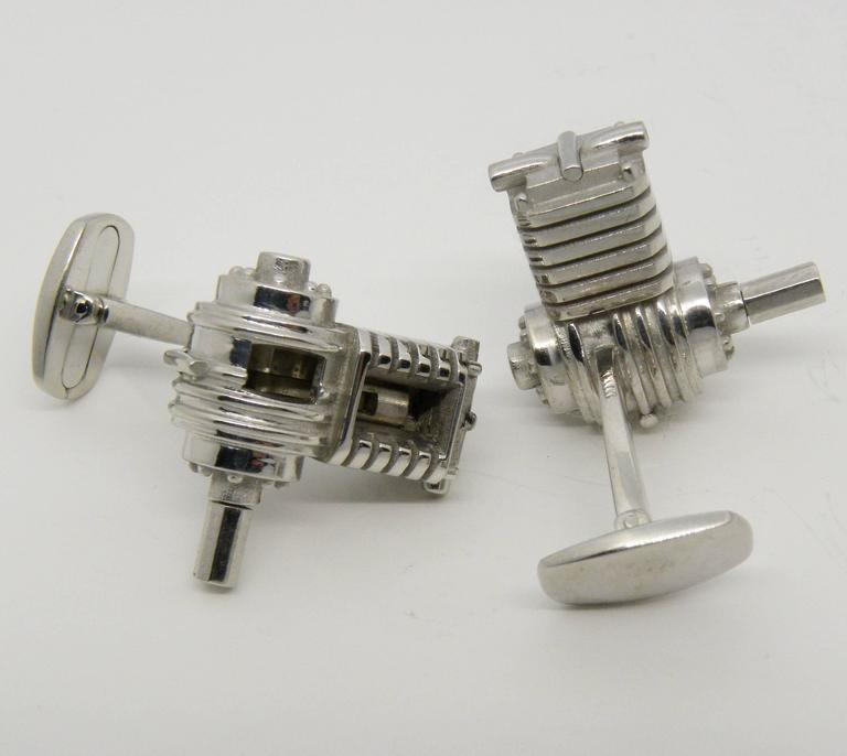 Contemporary Single-Cylinder Working Engine Sterling Silver Cufflinks T-Bar Back For Sale