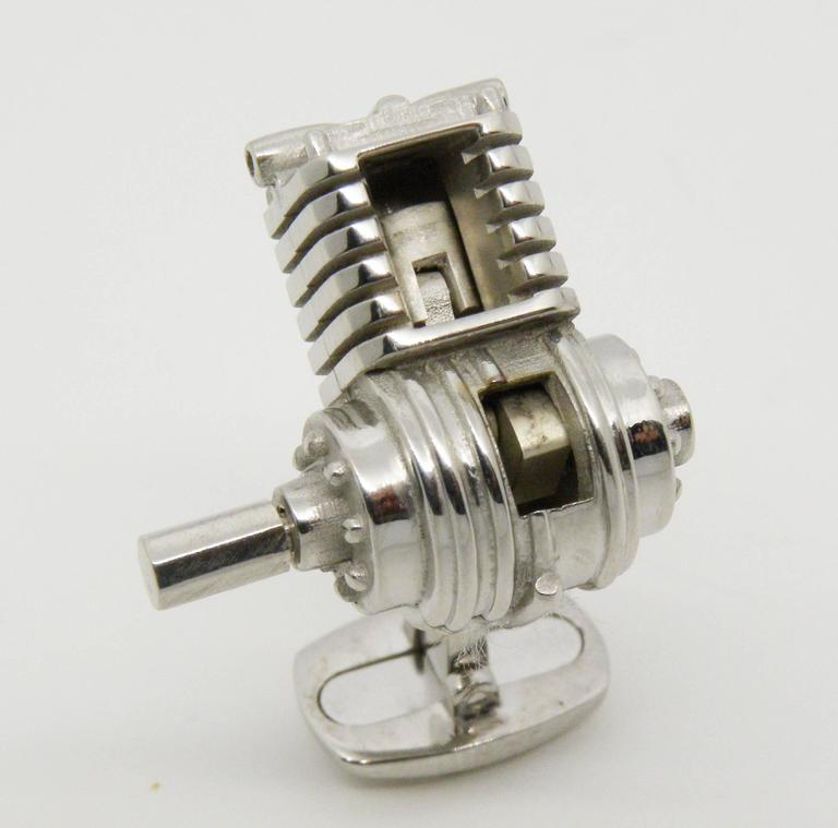 Single-Cylinder Working Engine Sterling Silver Cufflinks T-Bar Back In New Condition For Sale In Valenza, IT