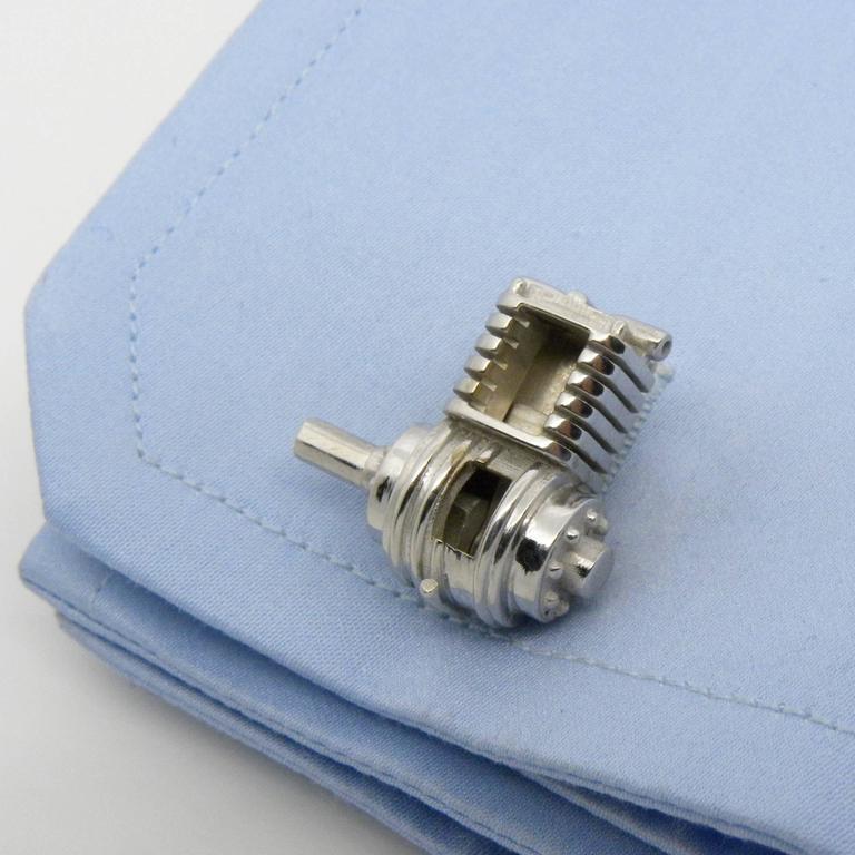 Men's Single-Cylinder Working Engine Sterling Silver Cufflinks T-Bar Back For Sale
