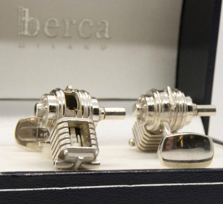 Single-Cylinder Working Engine Sterling Silver Cufflinks T-Bar Back For Sale 1