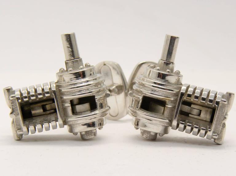 Incredible single-cylinder working engine sterling silver cufflinks, t-bar back: look at the video on youtube!