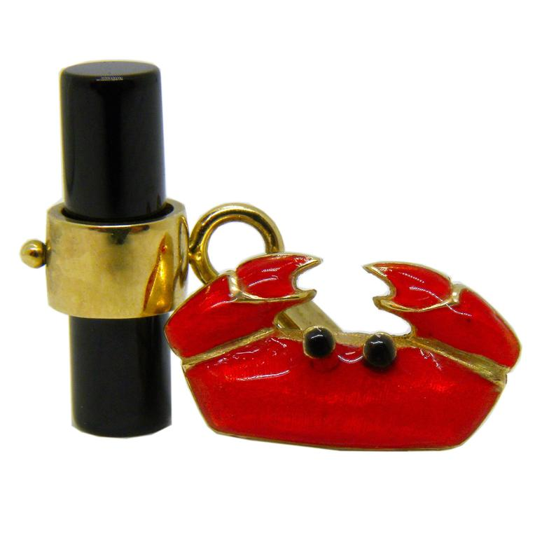 One-of a-kind Hand Enamelled Crab Shaped 9K Yellow Gold Cufflinks, onyx stick back