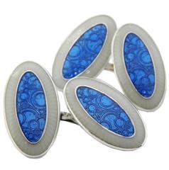 Unique Champlevé Hand Enamelled Blue Light Grey Sterling Silver Cufflinks