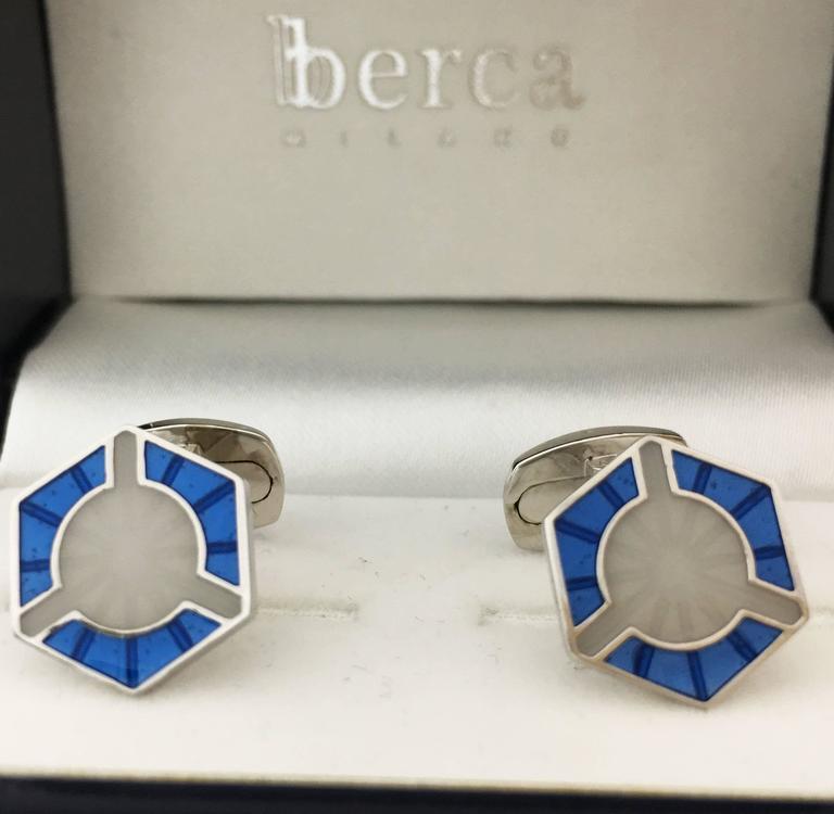 Art Deco Smart Light Blue White Champlevé Hand Enameled Sterling Silver Cufflinks For Sale