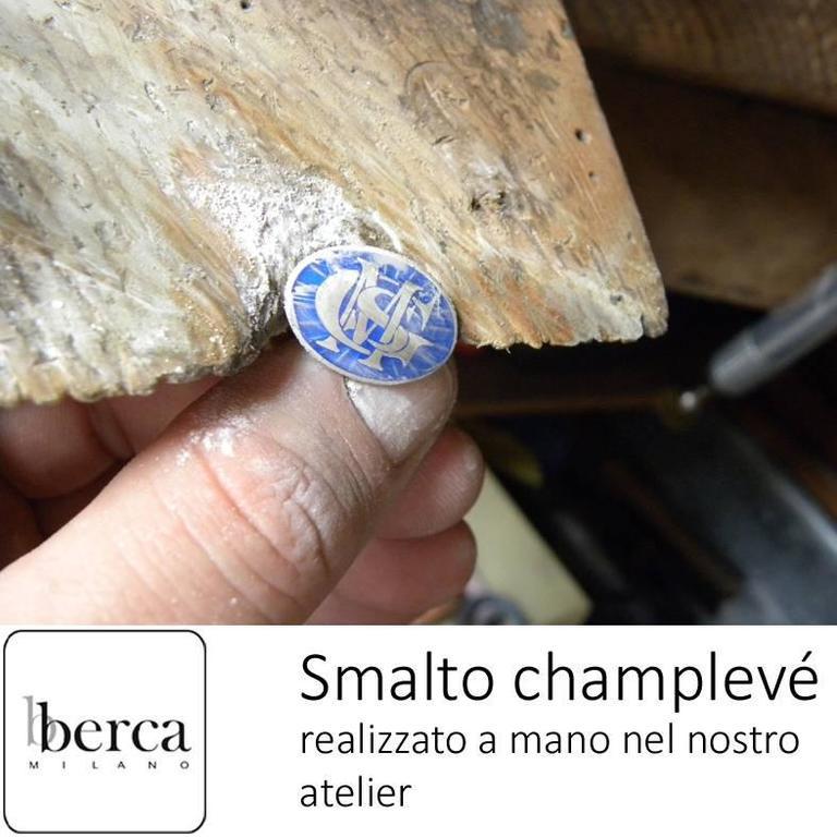 Men's Smart Light Blue White Champlevé Hand Enameled Sterling Silver Cufflinks For Sale