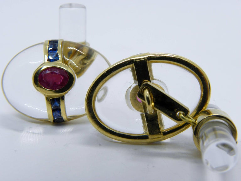 Hand Inlaid Rock Crystal Square Cut Sapphire Oval Ruby 18 Karat Gold Cufflinks For Sale 5